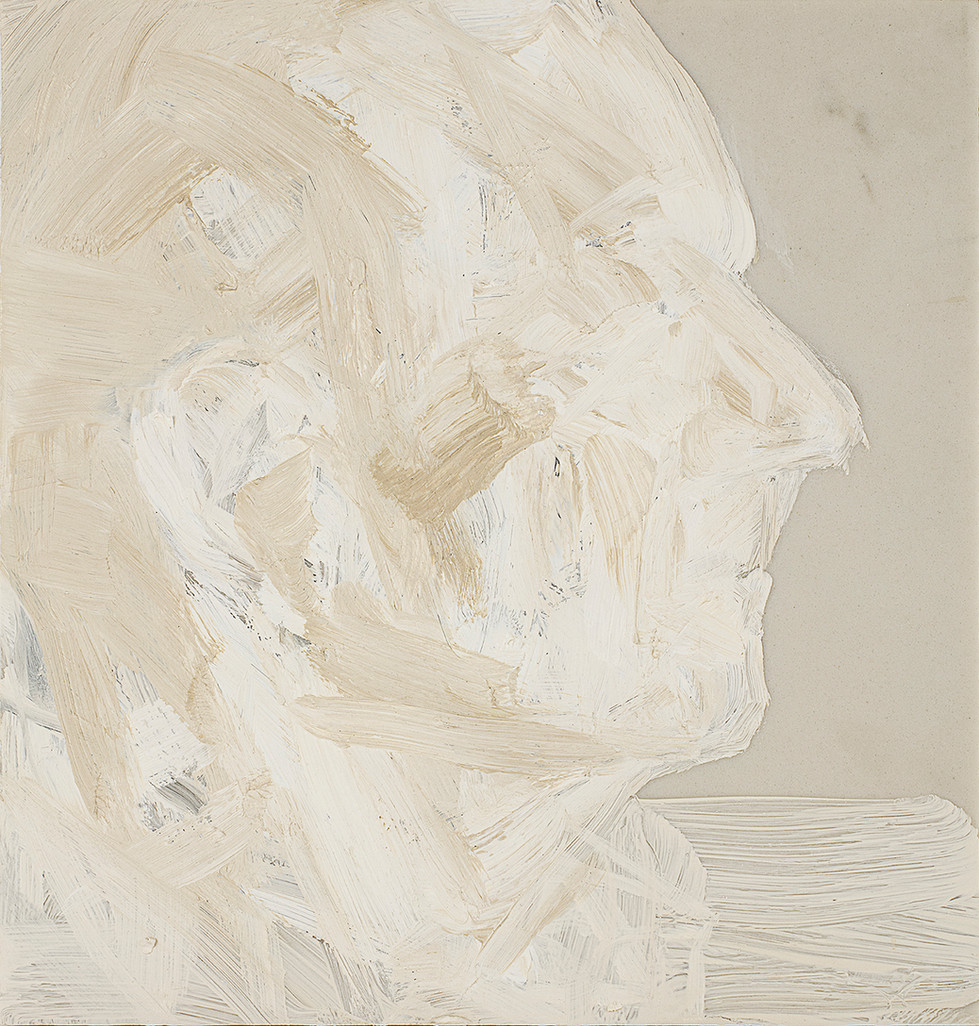 'Pell', 2019, oil on marble, 28 x 26.5 x 2 cm