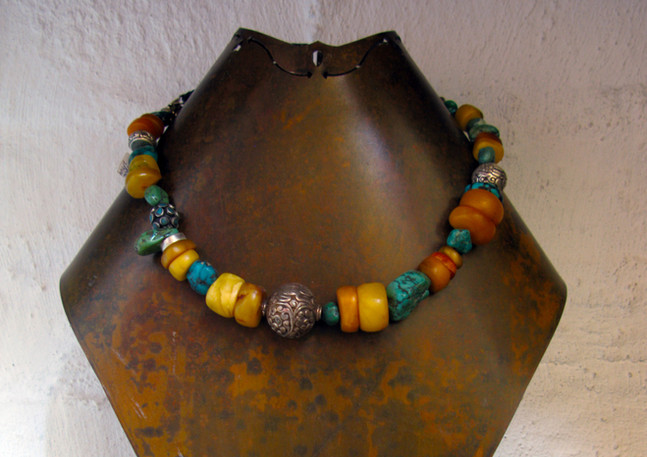 Antique amber with turquoise and silver