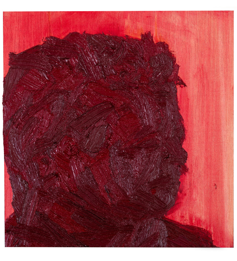 'Red Fred I', 2012, oil on jelutong, 30 x 29 x 5 cm