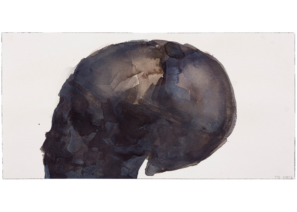 'Skull Series', 2013, watercolour on paper, 15 x 30 cm