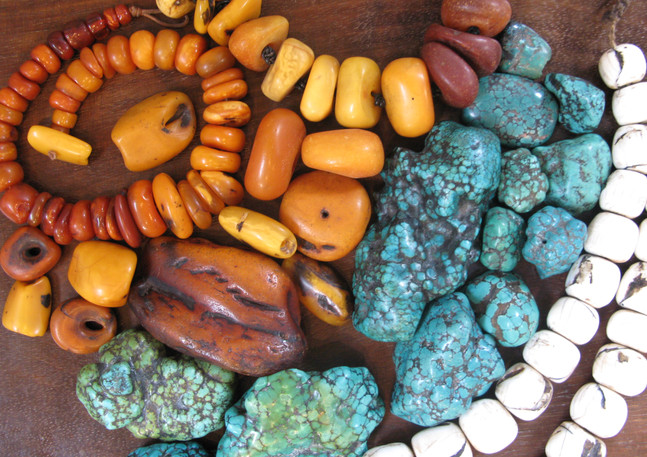 Amber, turquoise and shell beads