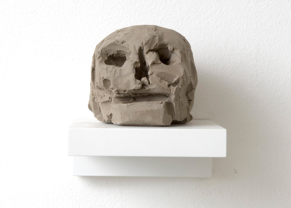 'Head on a block', 2007, Sikagard-consolidated clay, 13 x 13 x 16 cm