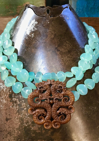 Chalcedony with Chinese jade disk