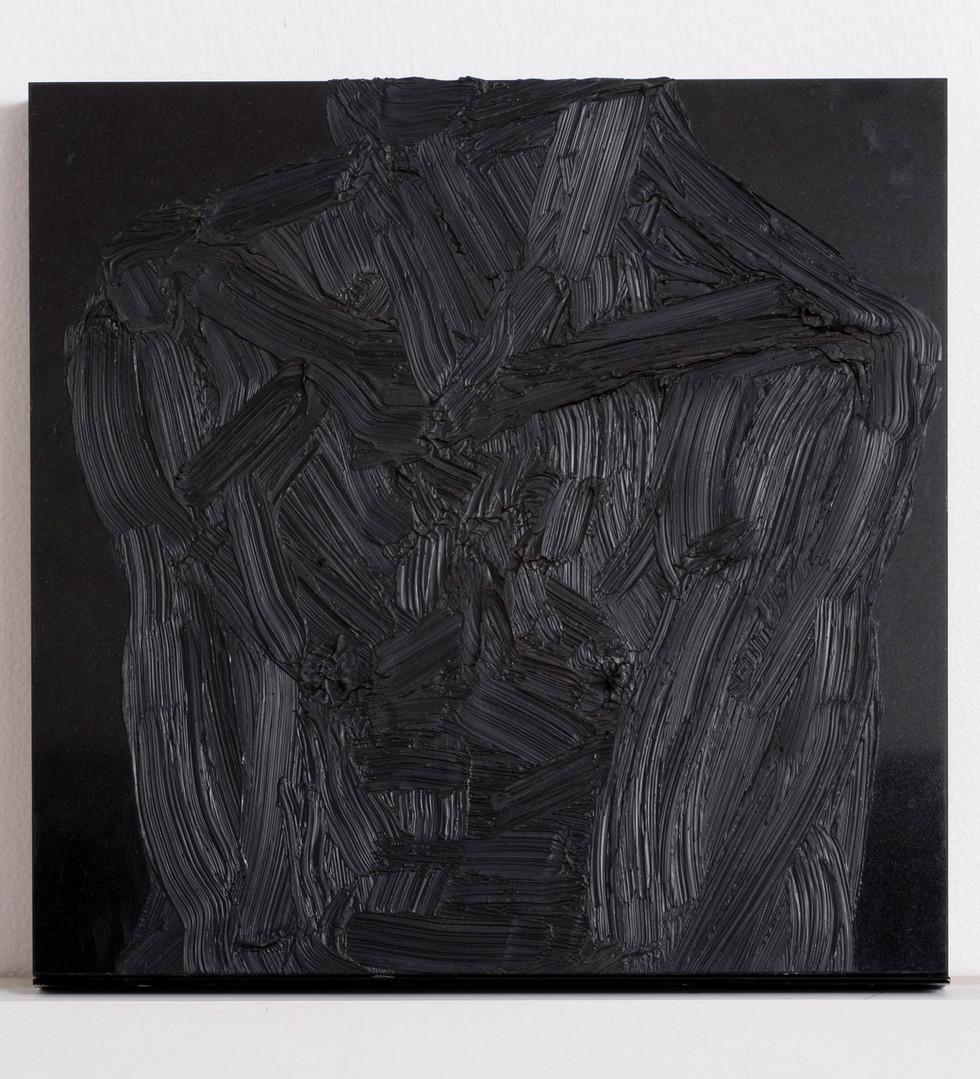 'The end of Wilson', 2009, oil on granite, 40 x 40 x 3.5 cm
