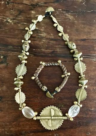 Baule lost wax brass beads and snake vertebrae