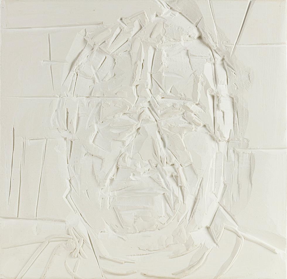'Architectonic', 2020, WhatsApp sitting, plaster of Paris, 29 x 30 x 2cm