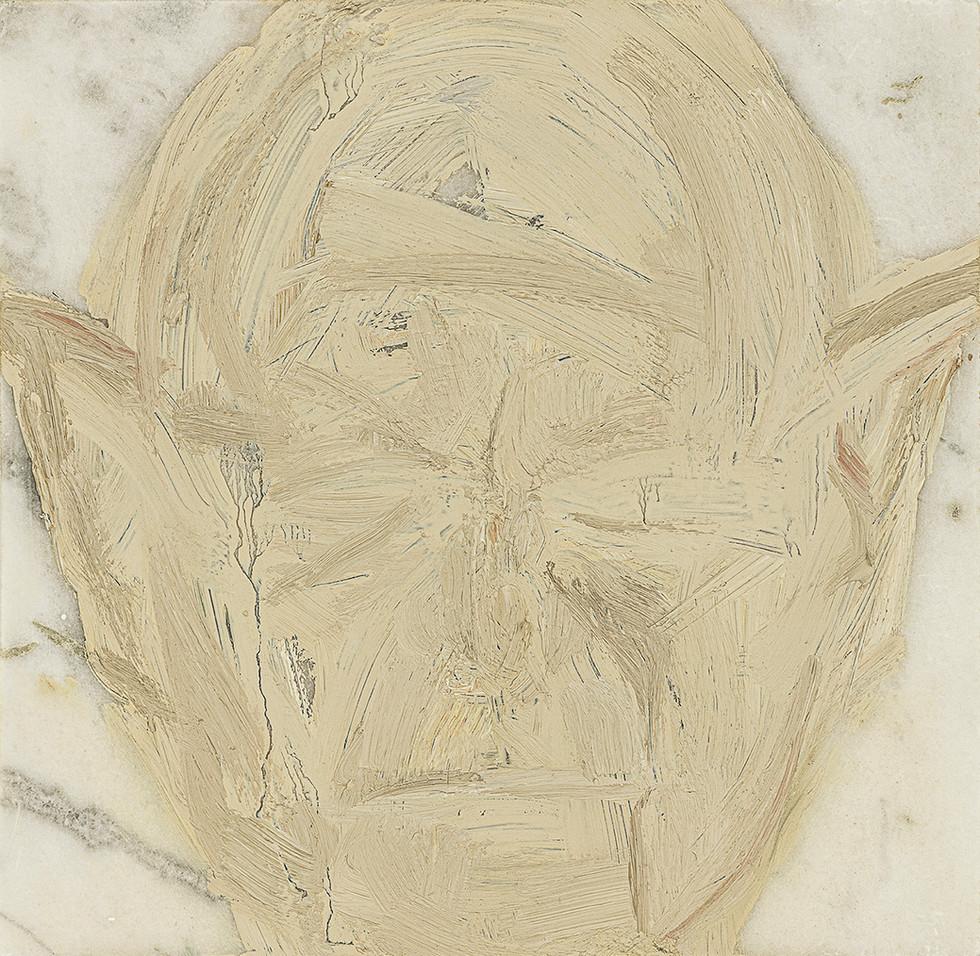 'Spock', 2019, oil on marble, 20 x 20 x 2 cm
