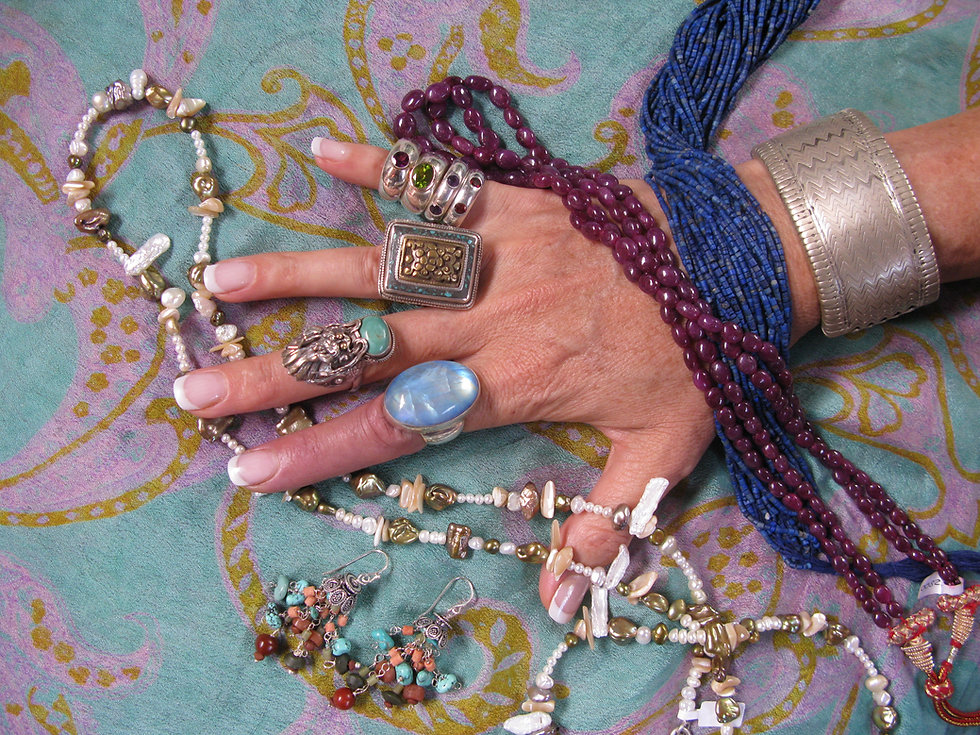 Bracelets, necklaces, rings and earrings