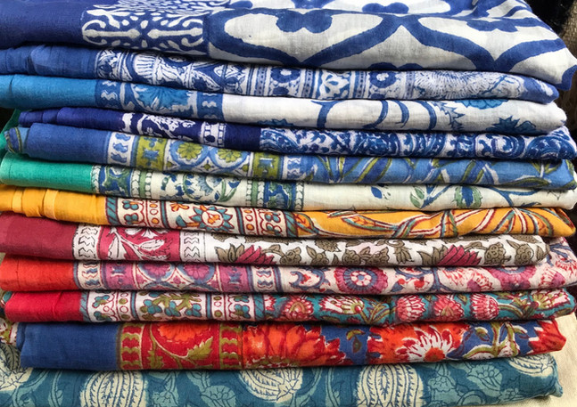 Bcock printed cotton table cloths and sarongs India
