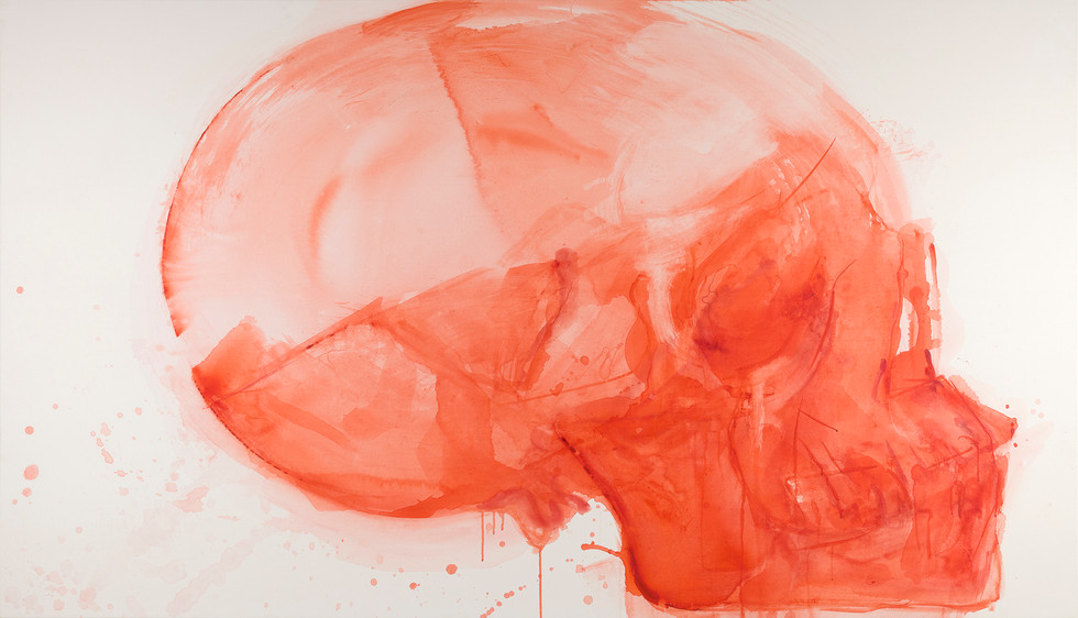 'Red glow', 2020, watercolour on canvas, 133 x 230 cm