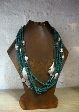 Turquoise with silver fish from Thailand