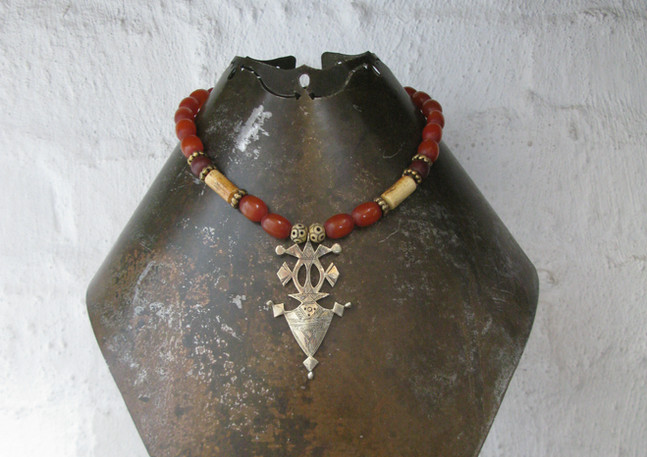 Ethopian metal pendant with African 'amber' and brass