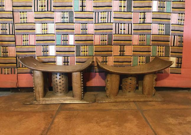 Ashanti stools & Ewe Kente Backdrop