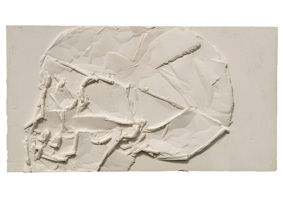 'Relief I', 2014, plaster of paris, 15.5 x 28.5 cm | framed: 45 x 54 x 10 cm