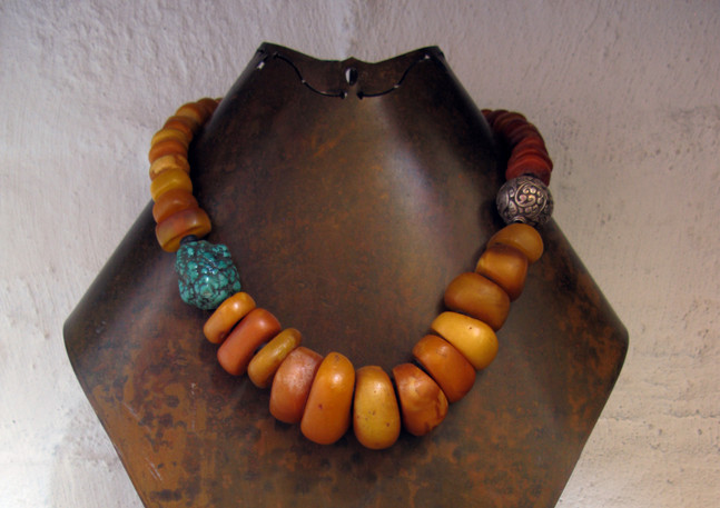 Antique genuine amber and turquoise