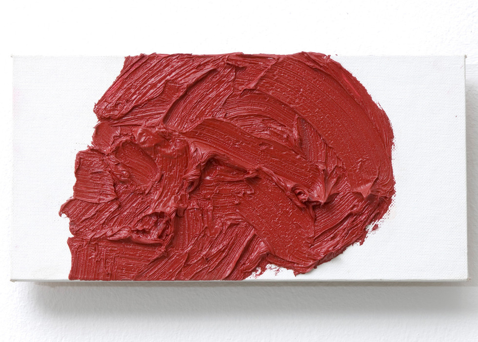 'Red Head', 2008, oil on canvas, 15 x 31 x 2 cm