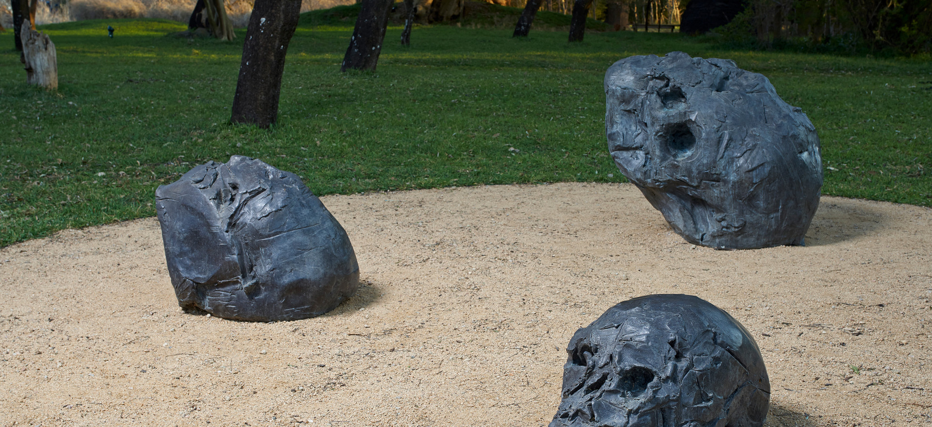 'I sculpt because I am curious to know why I fail', 33 x 57 x 33 cm (front), Elbowed 52 x 63 x 45 cm  (back left) and Heart Head 83 x 100 x 68 cm (back right) installed at Nirox Sculpture Park, 2014.