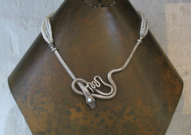 Silver snake necklace, India