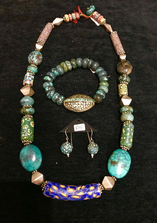 Antique millefiori trade beads, turquoise and silver