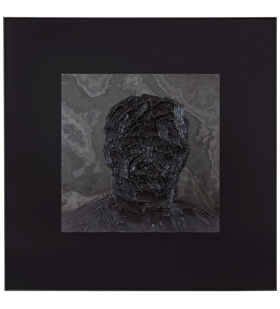 'The big man', 2012, oil on stone, 104.5 x 104.5 cm