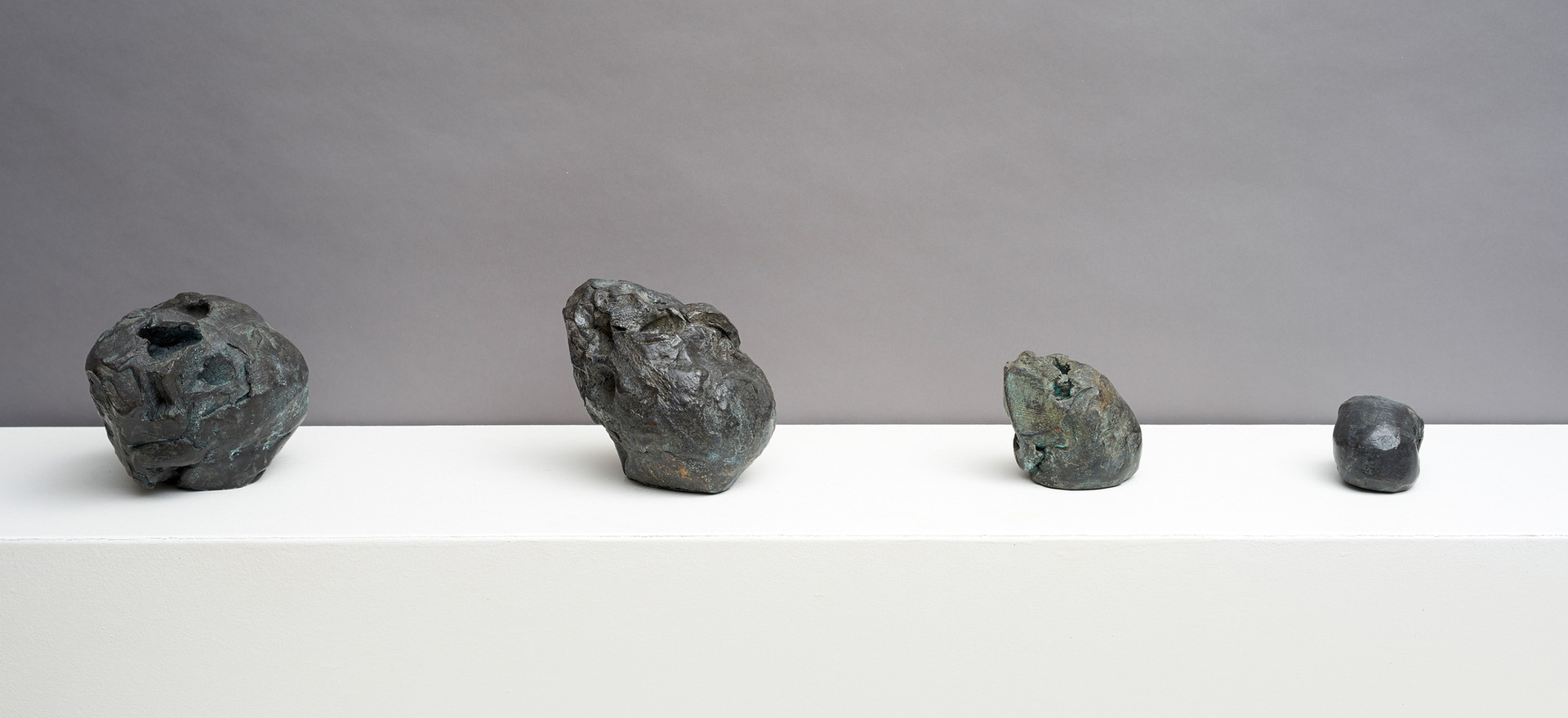 'Intimations of continuity', 2014, bronze, Left to right:  14 x 13.5 x 17 cm |16 x 11 x 14.5 cm |11 x 9.5 x 10 cm | 7 x 7 x 11 cm