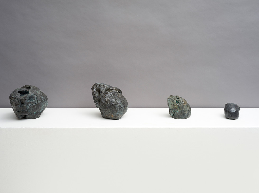 'Intimations of continuity', 2014, bronze, Left to right:  14 x 13.5 x 17 cm |16 x 11 x 14.5 cm |11 x 9.5 x 10 cm | 7 x 7 x 11 cm