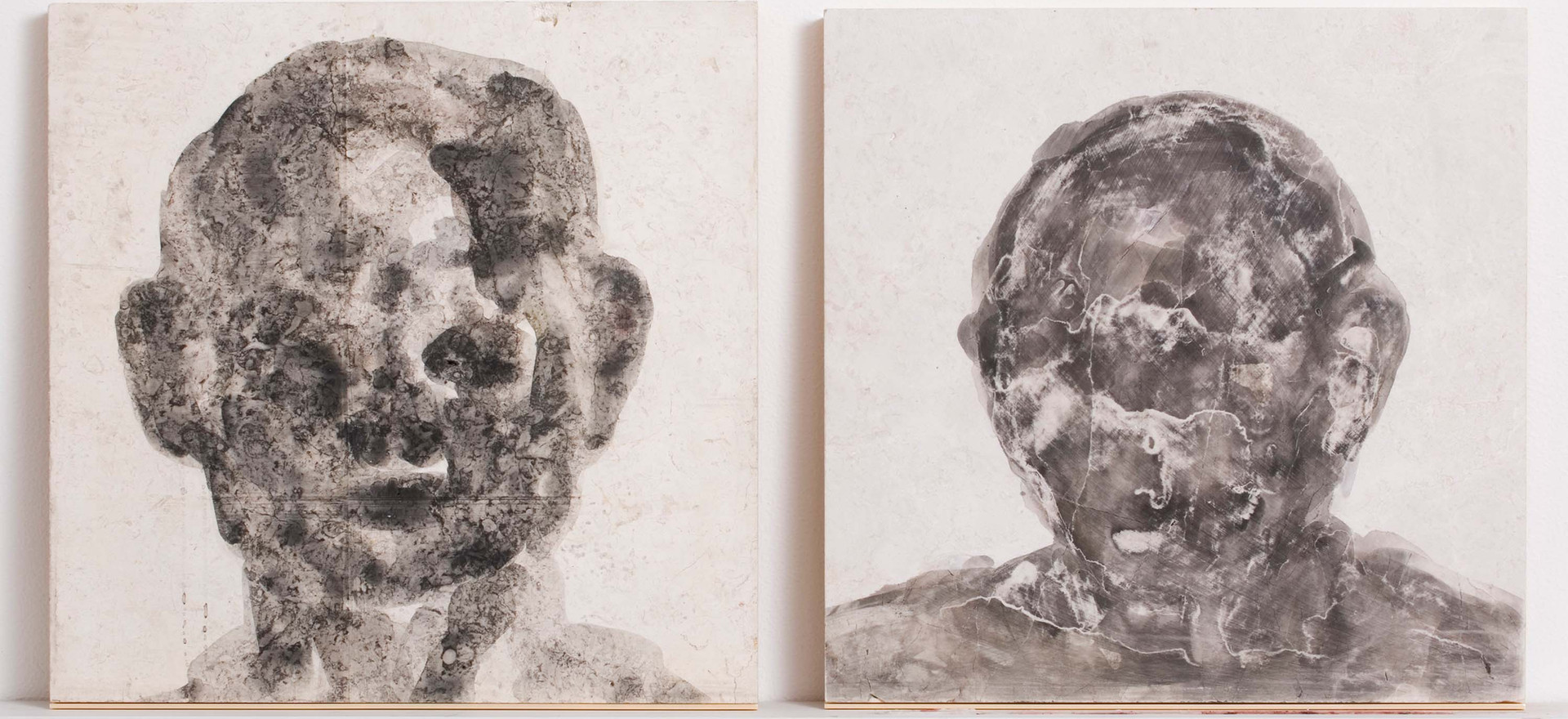 'Lithic Presence I & II', 2009, watercolour on marble, 46 x 46 cm each
