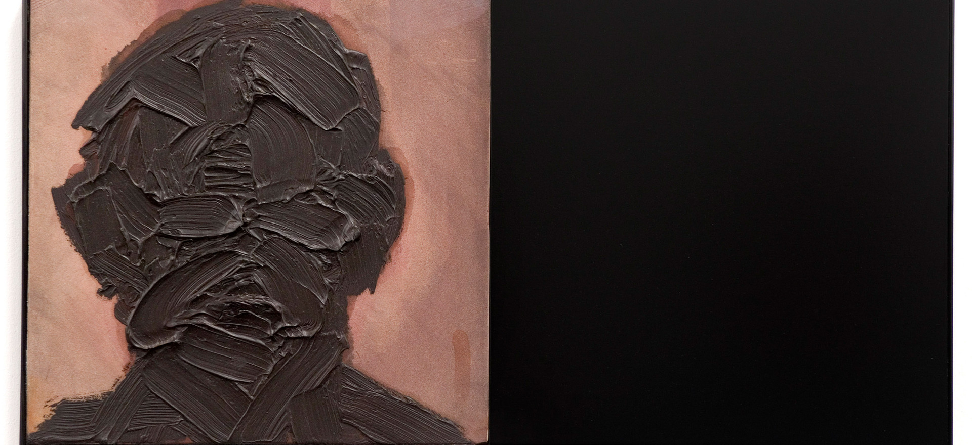 'Written', 2009, oil on sandstone, sprayed supawood, Perspex, 31 x 61 x 3.5cm