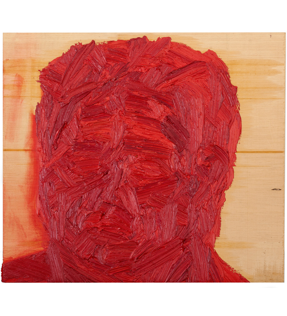 'Red Fred II', 2012, oil on jelutong, 30 x 29 x 5 cm