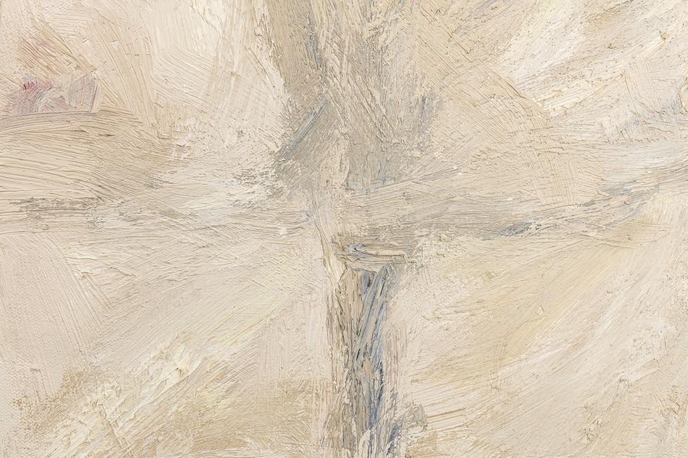 'Percipient', 2018, oil on canvas, 190 x 25 x 5 cm (detail)