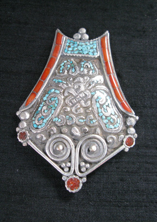 Tribal metal, turquoise and coral, Nepal