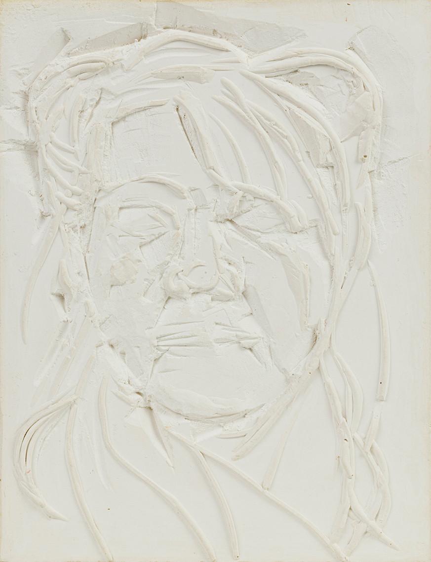 'Embossed', 2020, WhatsApp sitting, plaster of Paris, 30 x 23 x 2 cm