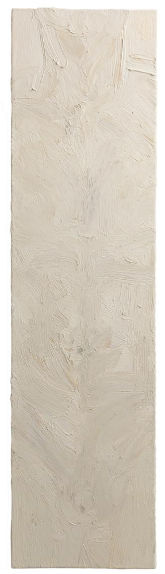 'Plumbline', 2017, oil on canvas, 100 x 25 cm
