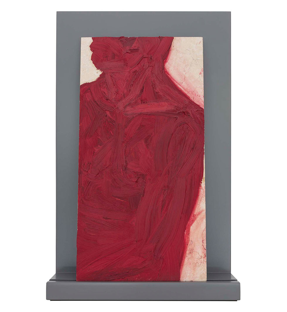 'Red remains', 2009, oil on marble, 60 x 30 x 2cm | framed: 67 x 44 x 13.5 cm