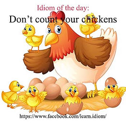 """Don't count your chickens before they hatch (sometimes just """"Don't count your chickens"""")"""
