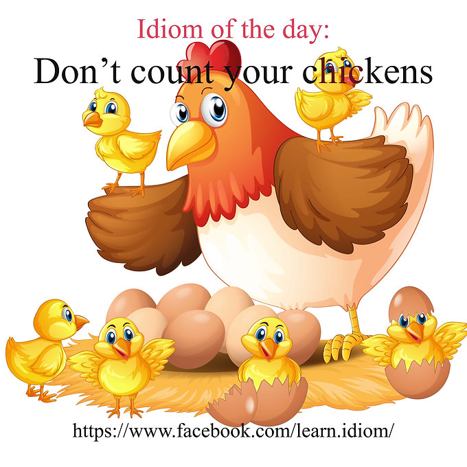 "Don't count your chickens before they hatch (sometimes just ""Don't count your chickens"")"