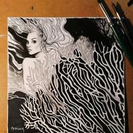 Sonia Ansiaux - Inktober 2020 day 20 : corail - encre de Chine sur papier Arches satiné - 15x15