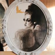 Sonia Ansiaux - L'oiseau d'Or - acrylique et feuille d'or 24K sur panneau - 50x40