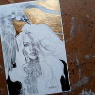 Sonia Ansiaux - graphite, acrylique et feuille d'or 24K sur papier Arches satiné - 15x10
