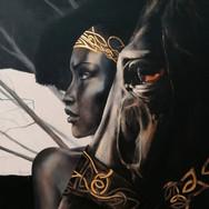 Sonia Ansiaux - Ebène - peinture à l'huile et feuille d'or 24K sur panneau de bois 8mm - 71x71