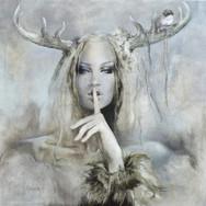 Sonia Ansiaux - Confidences - peinture à l'huile sur panneau - 35x35