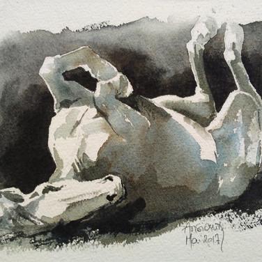 Sonia Ansiaux - aquarelle sur papier Arches grain fin - 15x20