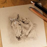 Sonia Ansiaux - Eloïse et Brizir - crayon gras et crayon posca blanc sur papier Daler & Rowney - 10x10