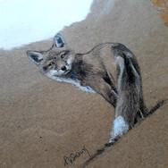 Sonia Ansiaux - crayon aquarellable et acrylique sur papier Dorée Pastellblock - 10x10