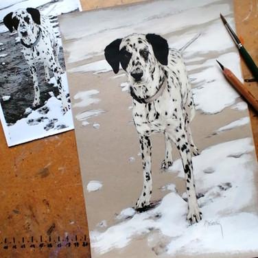 Sonia Ansiaux - Zeus - crayon gras et acrylique sur papier Dorée Pastellblock - 30x20