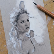 Sonia Ansiaux - crayon gras et acrylique sur papier Dorée Pastellblock - 15x10