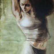 """Sonia Ansiaux - série """"Danse"""" - acrylique sur panneau - 122x40"""
