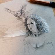 Sonia Ansiaux - crayon aquarellable et acrylique sur papier Dorée Pastellblock - 15x10