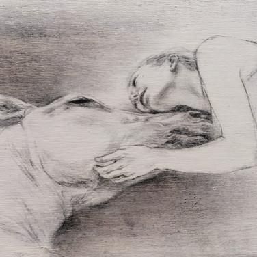 Sonia Ansiaux - fusain et crayon gras sur panneau de bois 18mm - 13x25