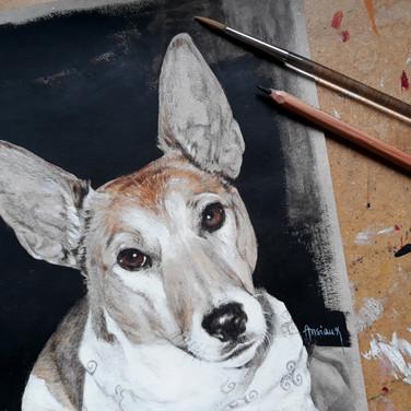 Sonia Ansiaux - Poupy - crayon gras et acrylique sur papier Dorée Pastellblock - 30x20